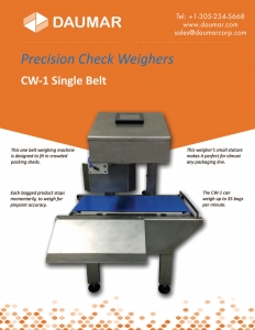 Daumar CW-1 Single Belt Precision Check Weigher Brochure