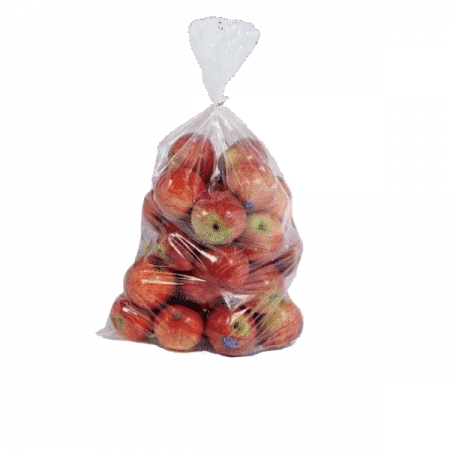 Apples in wicketed bag with Tape Closure